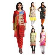 Get Pack of 5 Crepe Kurtas + 1 Bottom Fabric By Envy 9 at Rs 1199 | homeshop18 Offer