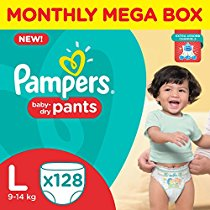 Get Pampers Large Size Diaper Pants Monthly Box Pack (128 Count) at Rs 1199 | Amazon Offer