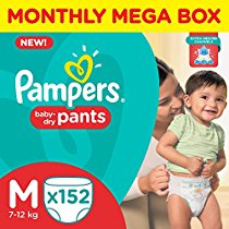 Get Pampers Medium Size Diaper Pants Monthly Box Pack (152 Count) at Rs 1199 | Amazon Offer