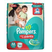 Get Pampers Medium Size Diapers Pants (80 Count) at Rs 703 | Amazon Offer