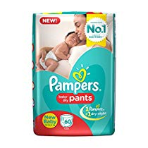 Get Pampers New Born Diaper Pants, X-Small (60 Pieces) at Rs 492 | Amazon Offer