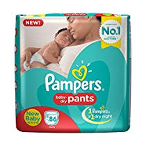 Get Pampers New Born Diaper Pants, X-Small (86 Pieces) at Rs 693 | Amazon Offer
