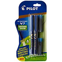 Get Pilot V7 Hi-tecpoint Roller ball pen with Cartridge System – 2 Blue Pens, 4 cartridges at Rs 1