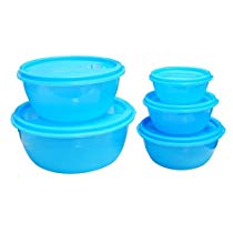 Get Princeware Store Fresh Plastic Bowl Package Container, Set of 5, Blue at Rs 165 | Amazon Offer