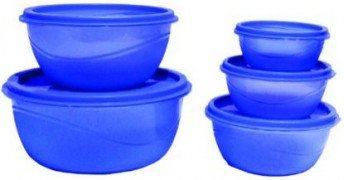 Get Princeware Store Fresh Plastic Bowl Package Container, Set of 5, Blue      india at Rs 101 | Ama