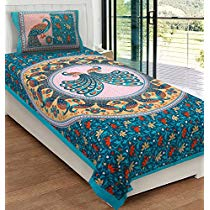 Get RajasthaniKart Classic 144 TC Cotton Single Bedsheet with Pillow Cover – Abstract, Green at Rs