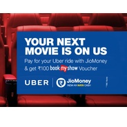 Get Rs.100 BookMyShow Voucher on Uber Ride Via JioMoney | jiomoney Offer