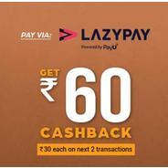 Get Rs.60 Cashback at Box8 Using Pay Via Lazypay | Box8 Offer