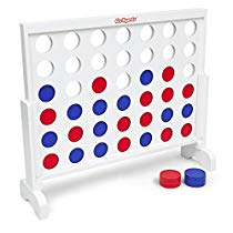 Get Save on GoSports Giant Wooden 4 in a Row Game – 3 foot Width – With Coins, Portable Case and