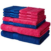 Get Solimo 100% Cotton 10 Piece Towel Set, 500 GSM (Iris Blue and Paradise Pink) at Rs 899 | Amazon