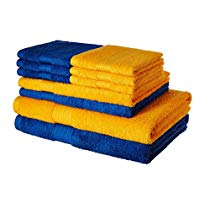 Get Solimo 100% Cotton 10 Piece Towel Set, 500 GSM (Iris Blue and Sunshine Yellow) at Rs 899 | Amazo