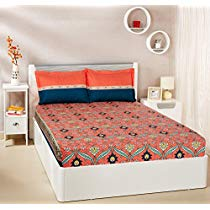 Get Solimo Imperial Trail 144 TC 100% Cotton Double Bedsheet with 2 Pillow Covers, Coral Pink and De