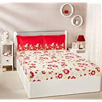 Get Solimo Jasmine Zest 144 TC 100% Cotton Double Bedsheet with 2 Pillow Covers, Red at Rs 649 | Ama