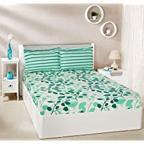 Get Solimo Leafy Spring 144 TC 100% Cotton Double Bedsheet with 2 Pillow Covers, Green at Rs 649 | A