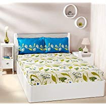 Get Solimo Lily Bloom 144 TC 100% Cotton Double Bedsheet with 2 Pillow Covers, Green at Rs 649 | Ama