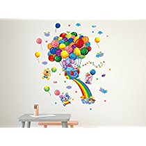 Get Solimo Wall Sticker for Kids' Room (Balloon Party, ideal size on wall , 54 cm X 63 cm) at Rs 1