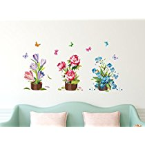 Get Solimo Wall Sticker for Living Room (Flower bouquets, ideal size on wall , 120 cm X 60 cm) at Rs