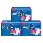 Get Stayfree Secure Cottony Sanitary Napkins with Wings – 20s (XL, Pack of 3) at Rs 257 | Amazon O