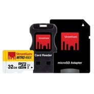 Get Strontium NITRO 466X 32GB MicroSDHC UHS-1 Memory Card with Adapter and Card Reader at Rs 649   A