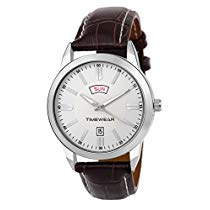Get Timewear Formal Day Date Silver Dial Leather Strap Watch at Rs 359 | Amazon Offer