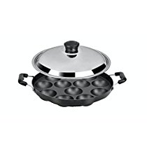 Get Tosaa 12 Cavity Appam Patra Side Handle with Lid, 23 cm, Black at Rs 418 | Amazon Offer