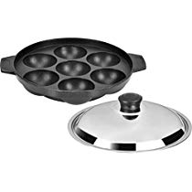 Get Tosaa Non Stick 7 Cavity Appam Patra with Lid, 17cm,Silver/Black at Rs 232 | Amazon Offer
