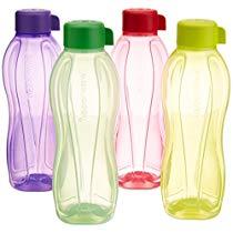 Get Tupperware Aquasafe Water Bottle Set, 1 Litre, Set of 4, Multicolor at Rs 617   Amazon Offer