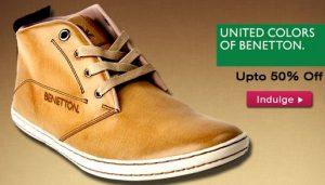 Get United Colors of Benetton Men's Footwear Min 78% off + 20% Cashback    at Rs 1003 | Flipkart O