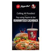 Get Up to 100% Cashback Rs.150 pay with Paytm at Pizza Hut and KFC | paytmmall Offer