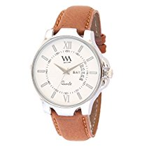 Get Watch Me White Dial Brown Leather Strap Day Date Watch for Man and Boys at Rs 359 | Amazon Offer