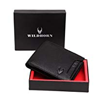 Get WildHorn Black Genuine Leather Wallet 015 at Rs 460 | Amazon Offer