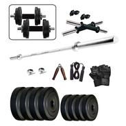 Get Wolphy 25 Kg Home Gym Set With 3 Feet Straight Rod, Hand Grip, Gloves & Skipping Rope at Rs 1432