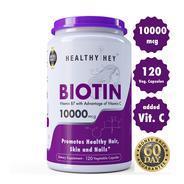 Healthyhey Nutrition Biotin Maximum Strength 10000 Mcg + Vitamin C - 120 Vegetable Capsules at Rs 75