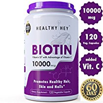 Healthyhey Nutrition Biotin Maximum Strength 10000 Mcg + Vitamin C – 120 Vegetable Capsules at Rs