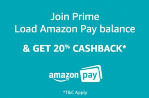 Join  Prime Get 20% Cashback on Load Money to  Pay Balance at Rs 799 | Amazon Offer