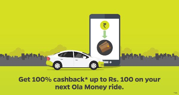 Ola Cabs 100% Cashback Offer Upto Rs 100 on Ola Money Rides -OMRIDE100.
