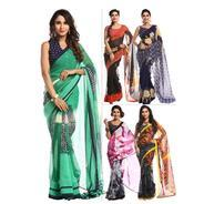 Pack of 5 Printed Georgette Sarees by Zoha at Rs 999 | homeshop18 Offer