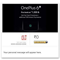 Pre-Book OnePlus 6T:Get free Type C Earphone+500  Pay Balance | Amazon Offer