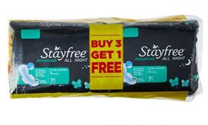 Stayfree Advanced All Night 7s Buy 3 Get 1 Free 28 pads      at Rs 221 | Amazon Offer